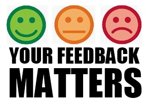 Your feedback matters with smiley face, neutral face, sad face